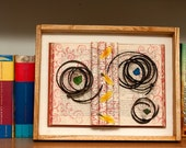 SALE - Mixed Media Artwork, Upcycled Bed Springs, Feathers and Book