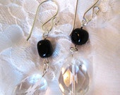 Bold Crystal and Black Stone Earrings - Sterling Silver, Quartz, Black Agate, Dangles- Christian Earrings - Light in the Darkness Collection