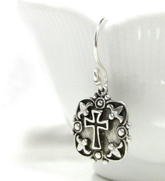 Sterling Silver Cross Shield and Crown Christian Earrings - Red Ruby Gemstone - Helmet of Salvation