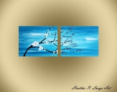 Cherry Blossom Flowers Canvas Blue Painting White Flowers Artwork Home Decor Made To Order