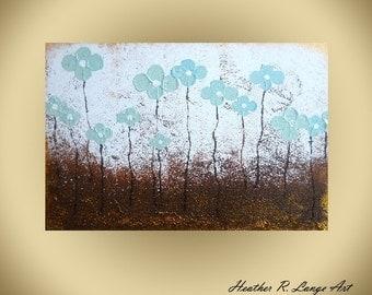 Landscape Original Textured Flowers Turquoise Blue Brown Tree Flowers Modern Home Decor