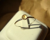 Citrine Ring - hexagonal set -  recycled sterling silver or 14k/20 gold filled -  custom size
