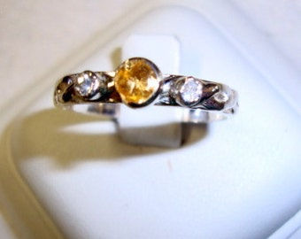 Ring - Citrine n Sapphires - .925 sterling silver - Fair Trade eco friendly recycled/reclaimed custom sized