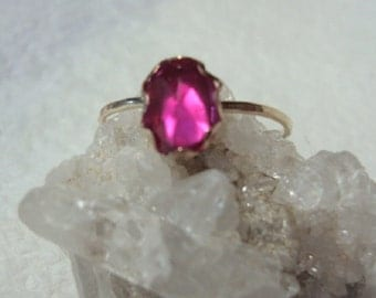 Ring Pink Sapphire -  recycled 14k gold filled - Custom Size - Brilliant lab grown gemstone