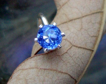 Ring Tanzanite Lab tanzanite ring -  1.12 ct eco friendly sterling silver from recycled sources  - Custom Made in your Size - blue purple