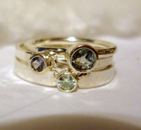 3 rings Pastel stack Moissanite, Aquamarine, Tanzanite, 14k gold, sterling silver custom size Fair Trade, earth friendly, conflict free