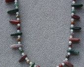 Sweet Clover necklace featuring fancy rainbow jasper, amazonite, Swarovski crystal and silver