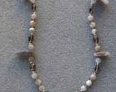 Precious' necklace with Botswana agate, smoky quartz, sterling silver, Czech glass and fine silver