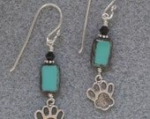 Taos Dog Paw earrings with Czech glass and sterling silver dog paws