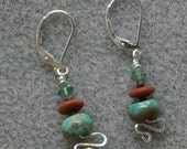 Taos earrings with turquoise, Czech glass, Swarovski crystal and sterling silver