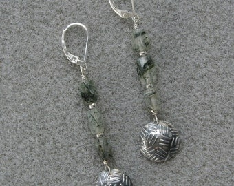 Rock Cap Moss earrings with actinolated quartz, fine silver and sterling silver