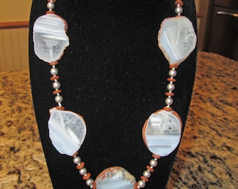Smoke and Fire necklace with white agate slabs, Swarovski crystal, Czech glass and sterling silver