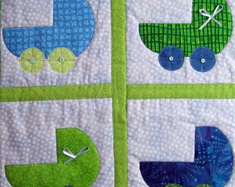 Green and Blue Baby Buggies Quilted Wall Hanging