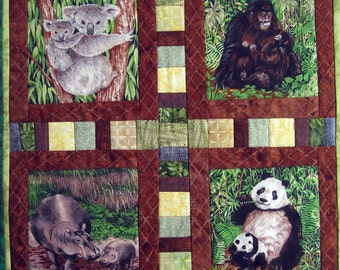 Mom and Baby Animals Quilted Wall Hanging by Made Marion