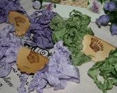 Seam Binding , 18 YARDS  , Grandmothers Lilac Bush ,  Purples ,  Green Seam Binding , Wrinkled Ribbon