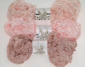Seam Binding  - 18 yards -  BABY'S BREATH -  Rosy Beige -  Pinkish  - Flesh - Crinkled Ribbon - Shabby Ribbon - Shabby Seam Binding , Rayon