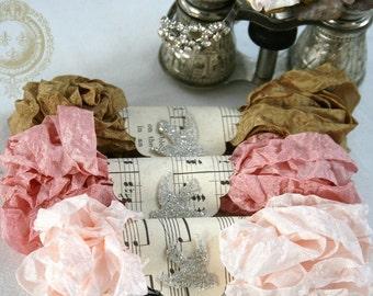Crinkled Seam Binding , Rose Ribbon , Lt. Peach Ribbon  , Sepia Brown Ribbon , 18 YARDS , CAVIAR , Card Making Ribbon , Vintage Style