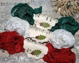 Seam Binding Ribbon , 18 YARDS , TRADITIONAL CHRISTMAS ,  Red ,  White ,  Green , Vinatge Style Ribbon , Shabby Ribbon