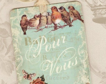 Tags , Bird Tags  , Pour Vous ,  For You Gift Tags , Mothers Day Tags