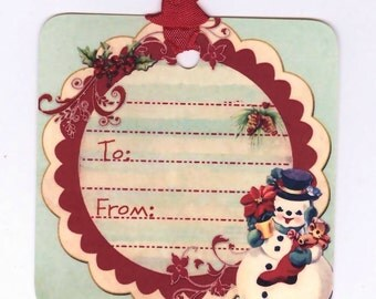 Christmas Tags , Vintage Snowman ,   Retro Christmas Tags ,  Aqua and Red , Vintage Tags