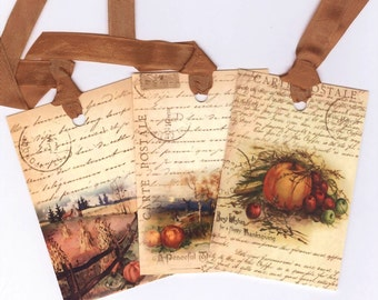Fall Gift Tags , Vintage Pumpkins and More , Thanksgiving , Autumn Favors , Rustic Fall , Cpuntry Autumn