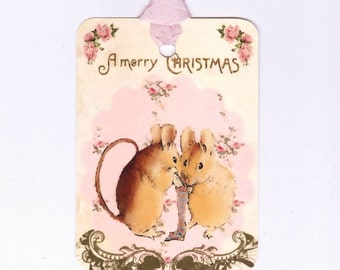 Christmas  Mice  Gift Tags  -   Vintage Tags - Pink Christmas