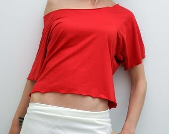 short sleeved top, loose red tshirt, jersey scooped neck