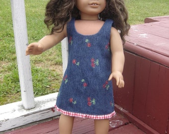 Cherries and Denim Jumper for the American Girl