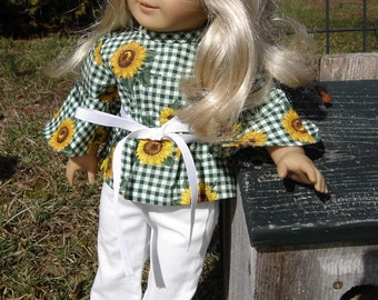 Sunflower Pheasant Top and Pants for the American Girl or other 18 inch Dolls