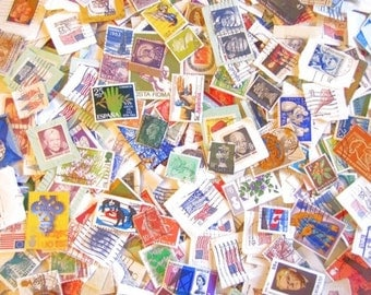 50 Used Postage Stamps. Altered Art. Collage. Mixed Media Projects. Destash Sale
