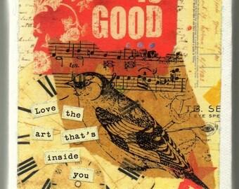 4x4 Mixed Media Canvas - Bird Song