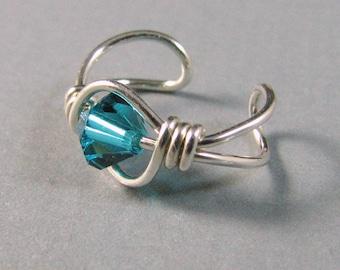 Blue Zircon Sterling Silver Ear cuff cartilage earring