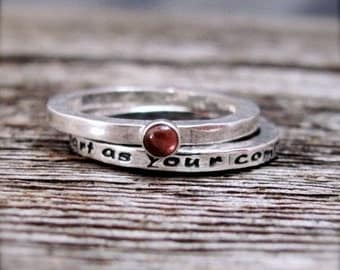 Inscribed Use Your Heart As Your Compass Story Stack Ring Set
