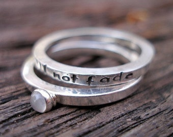 Promise Story Stack Rings My Love Will Not Fade in Sterling and Moonstone