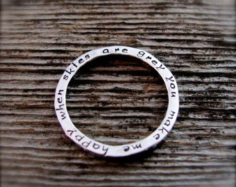 Secret Inscription Ring in Sterling with Beatiful Lowercase Font