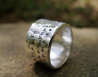 Custom Message Personlized Inscription Wide Hammered Ring in Sterling Silver