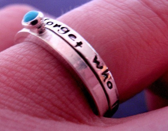 Inspirational Quote Stack Ring Set- Will Never Forget Who I Am in Sterling Silver and Turquoise