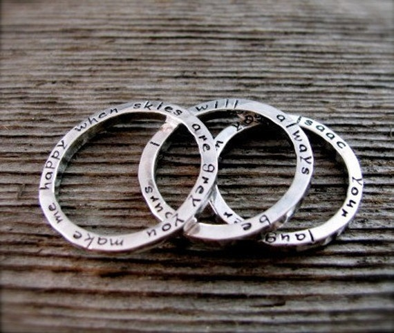 Set of Three Stackable Secret Poetry Rings in sterling and new lowercase font With Chain Reserved for Jason