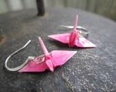 Origami Mini Paper Crane Earrings, Pink Ombre
