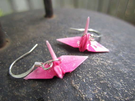 Origami Mini Paper Crane Earrings, Pink Ombre