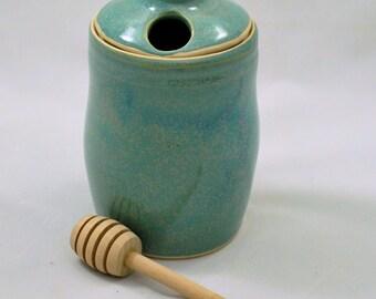 Ceramic Honey Pot Aqua Green Wheel Thrown Clay Pottery