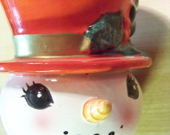 Vintage Collectible Lefton Snowman mug cup ceramic number 4709