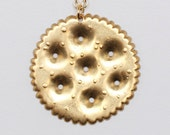 Ritz Cracker Charm Necklace With Brass Chain Great Food/Snack Lover Gift