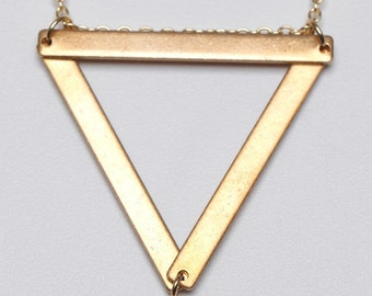 Equilateral Triangle Pendant Geometric Brass Necklace // Minimalist Jewelry Holiday Gift for Her