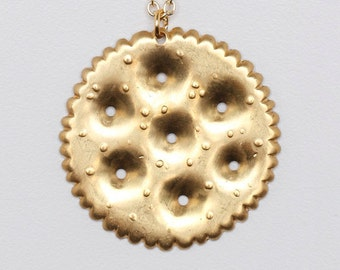 Ritz Cracker Charm Necklace With Brass Chain Great Food // Snack Lover Gift // Perfect Foodie Gift