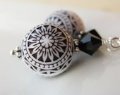 Black and white Vintage Lucite earrings with swarovski crystal in sterling silver