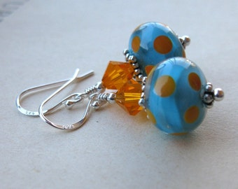 Blue and orange  Lampwork earrings Sunsets