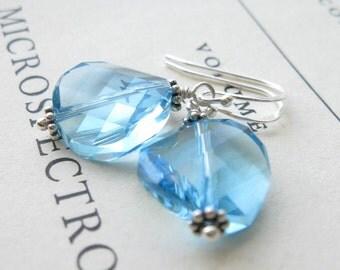Aquamarine Crystal earrings in sterling silver