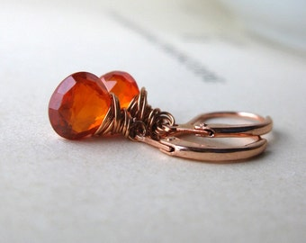 Heat Cubic zirconia and copper earrings