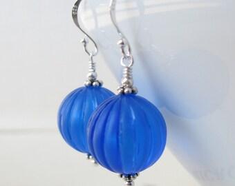 Cobalt Blue Lucite sterling silver earrings summer
